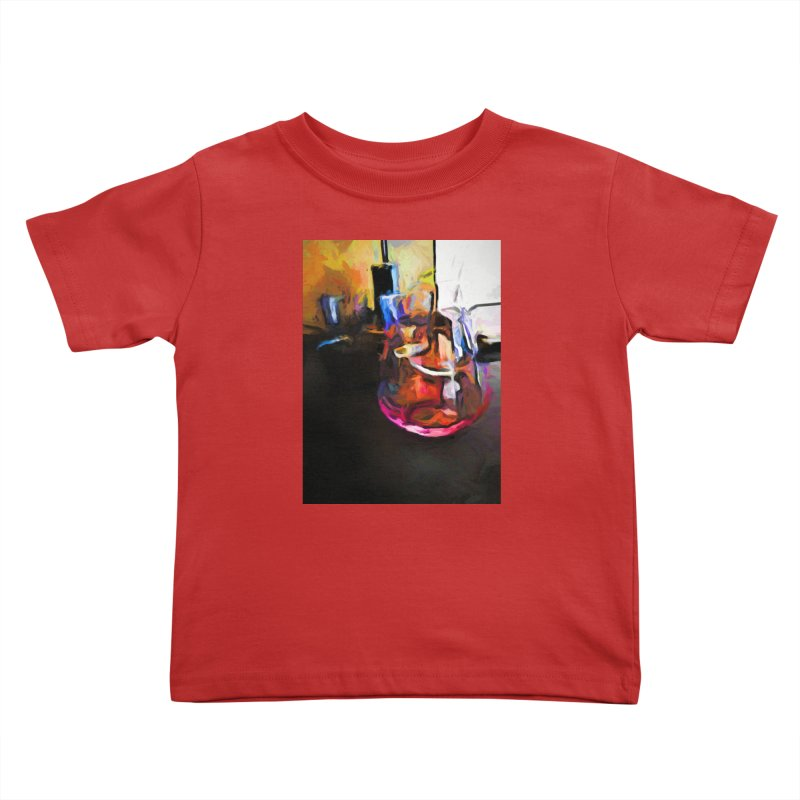 Wine Glass with Pink Wine Kids Toddler T-Shirt by jackievano's Artist Shop