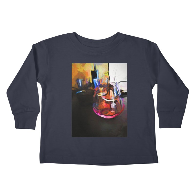 Wine Glass with Pink Wine Kids Toddler Longsleeve T-Shirt by jackievano's Artist Shop