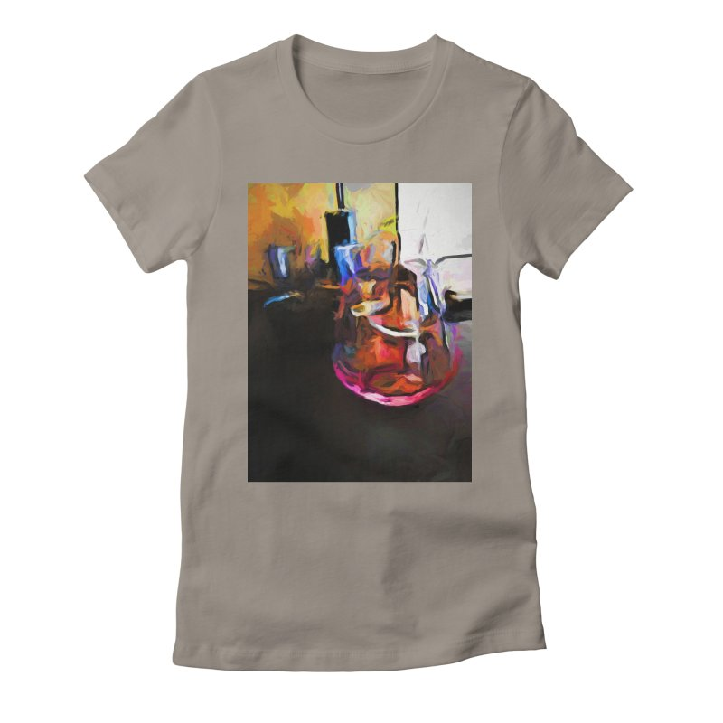 Wine Glass with Pink Wine Women's Fitted T-Shirt by jackievano's Artist Shop