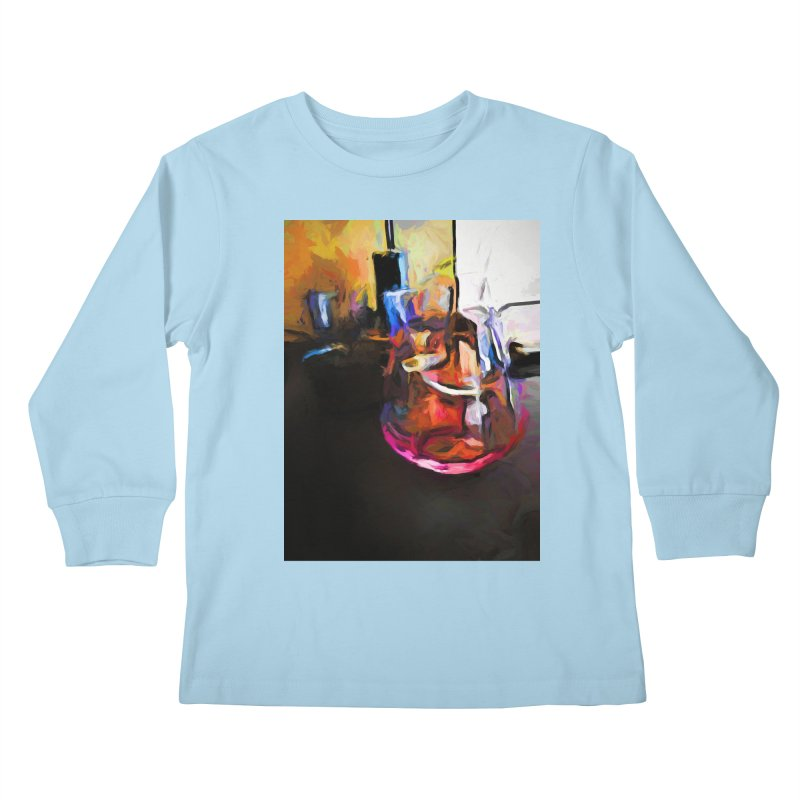 Wine Glass with Pink Wine Kids Longsleeve T-Shirt by jackievano's Artist Shop