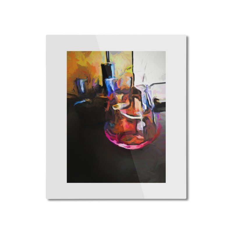 Wine Glass with Pink Wine Home Mounted Aluminum Print by jackievano's Artist Shop