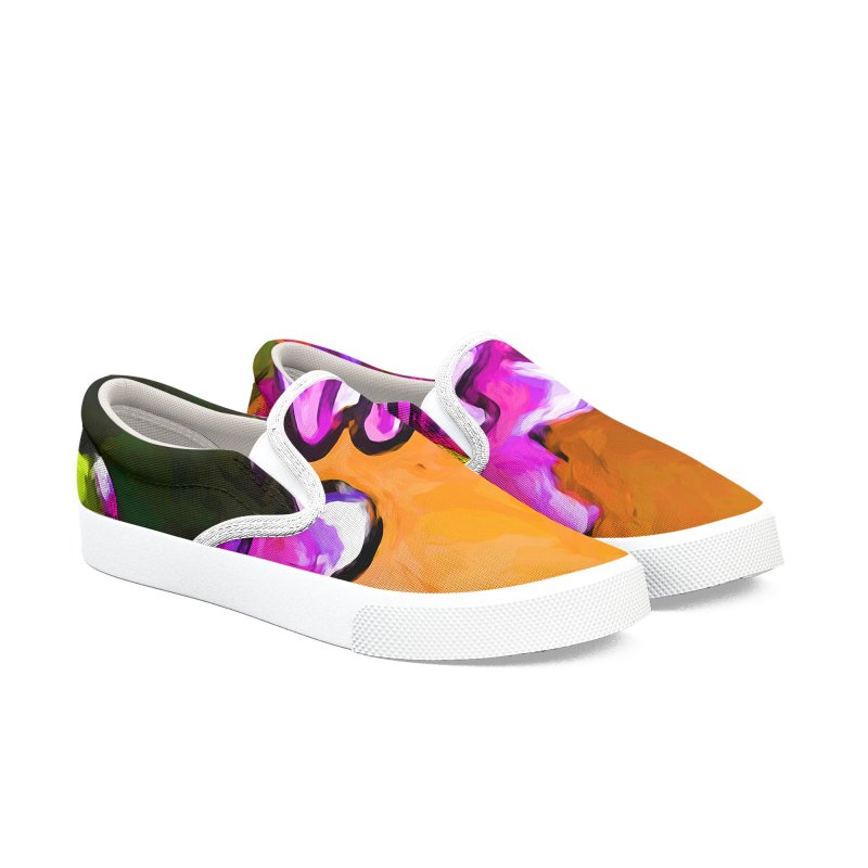 Posy of Pink and Green Daisies Men's Slip-On Shoes by jackievano's Artist Shop