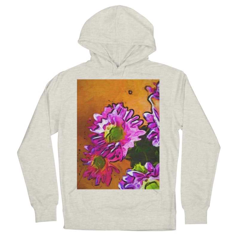 Posy of Pink and Green Daisies Men's French Terry Pullover Hoody by jackievano's Artist Shop