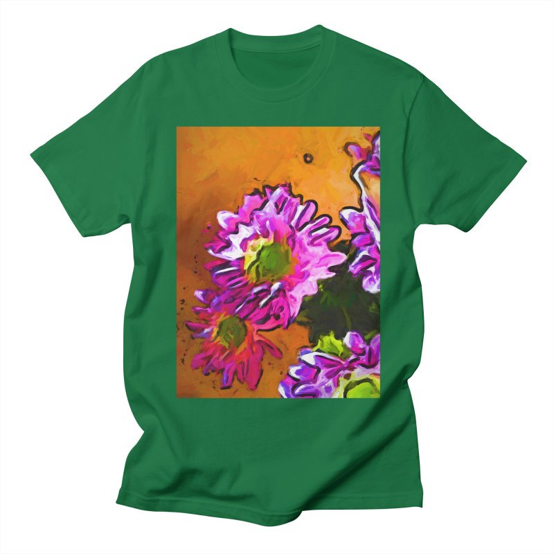 Posy of Pink and Green Daisies Men's Regular T-Shirt by jackievano's Artist Shop