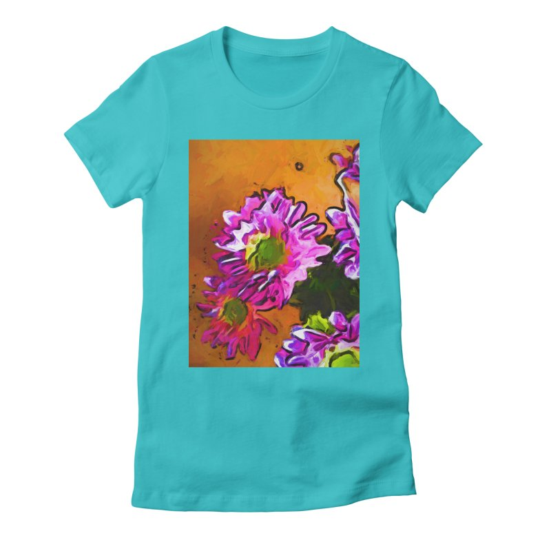 Posy of Pink and Green Daisies Women's Fitted T-Shirt by jackievano's Artist Shop