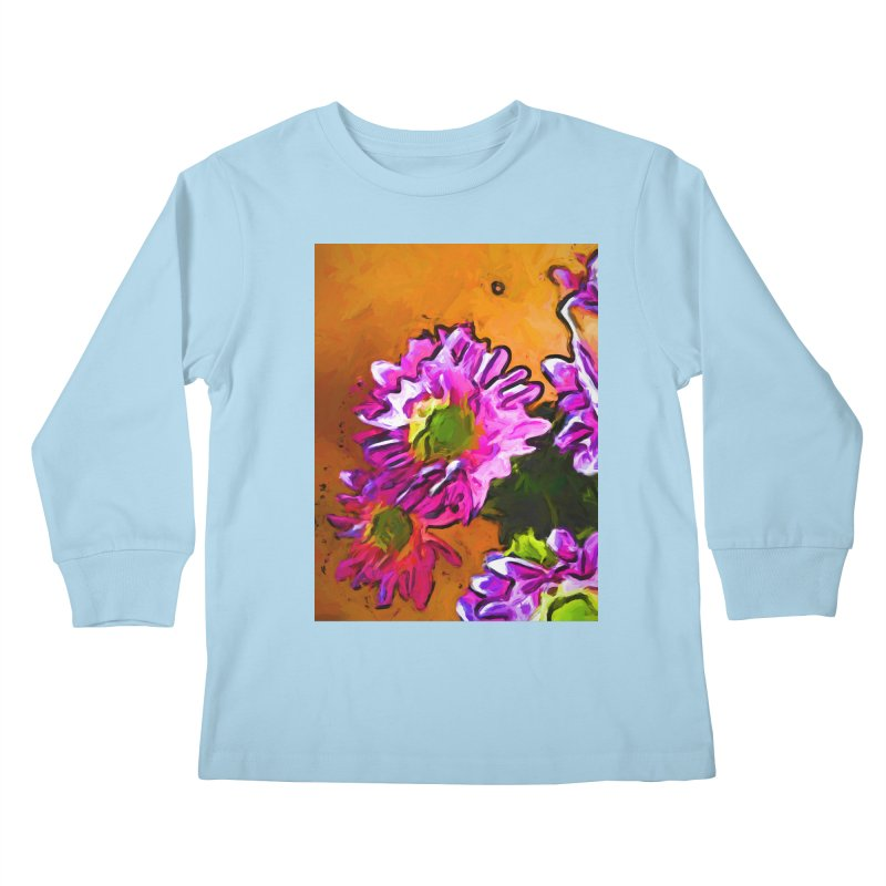 Posy of Pink and Green Daisies Kids Longsleeve T-Shirt by jackievano's Artist Shop