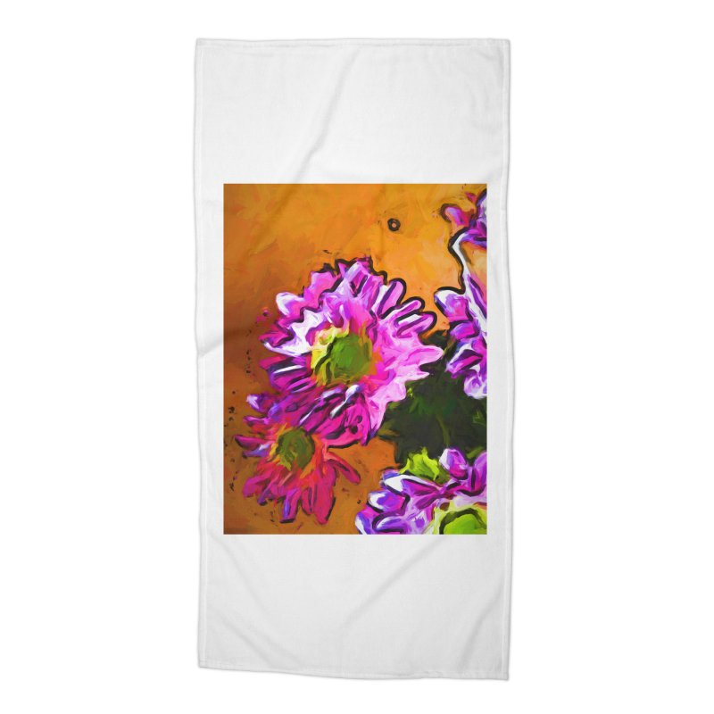 Posy of Pink and Green Daisies Accessories Beach Towel by jackievano's Artist Shop