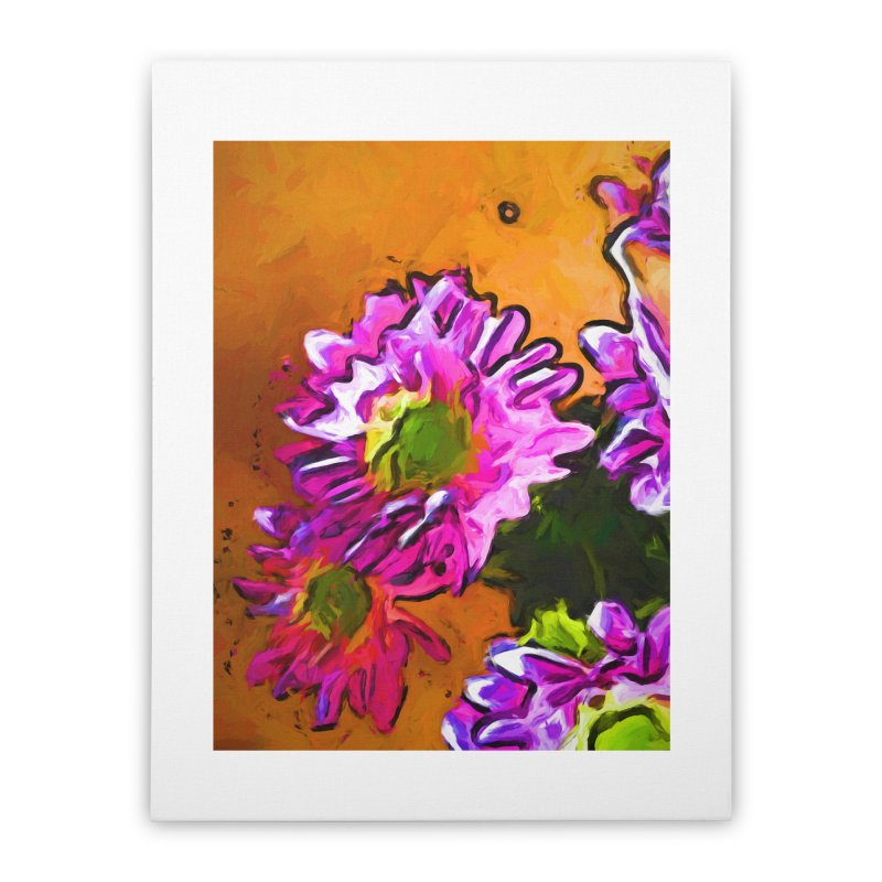 Posy of Pink and Green Daisies Home Stretched Canvas by jackievano's Artist Shop
