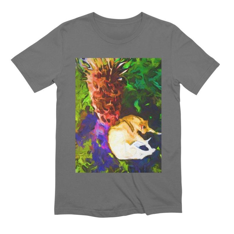 Sleeping Cat under Tree Fern Men's Extra Soft T-Shirt by jackievano's Artist Shop