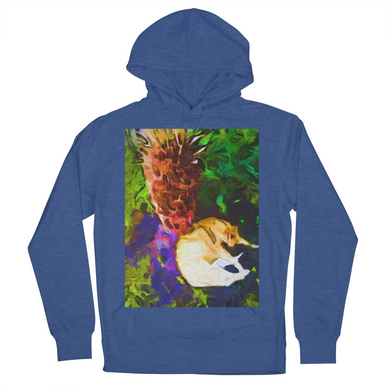 Sleeping Cat under Tree Fern Men's French Terry Pullover Hoody by jackievano's Artist Shop