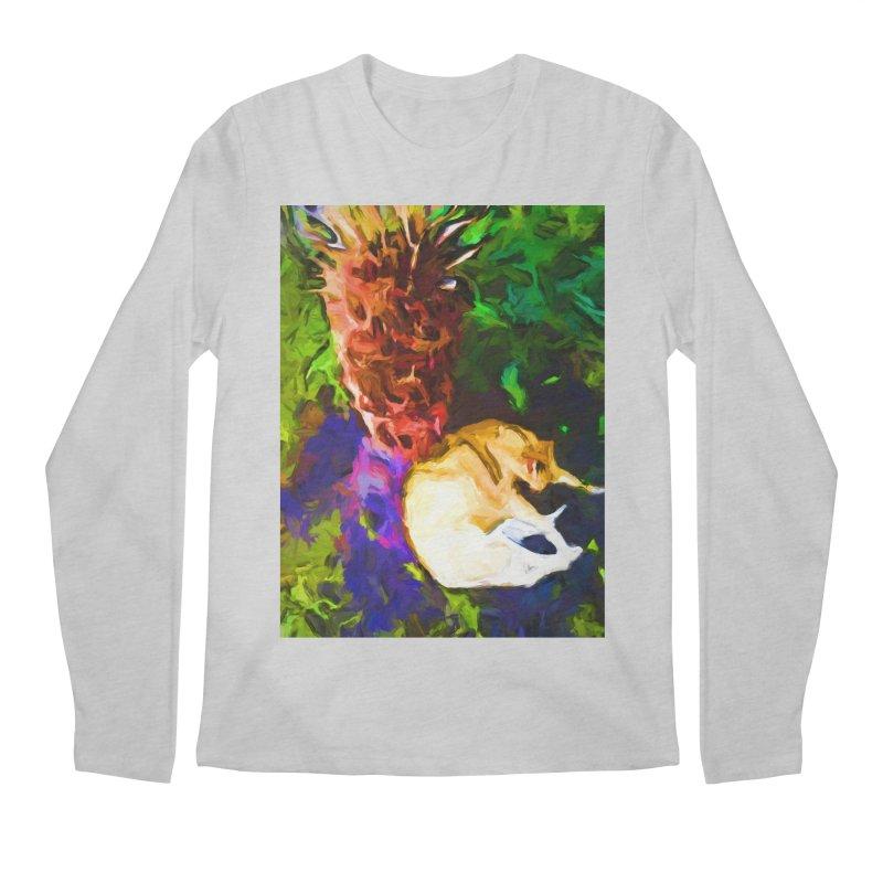 Sleeping Cat under Tree Fern Men's Regular Longsleeve T-Shirt by jackievano's Artist Shop