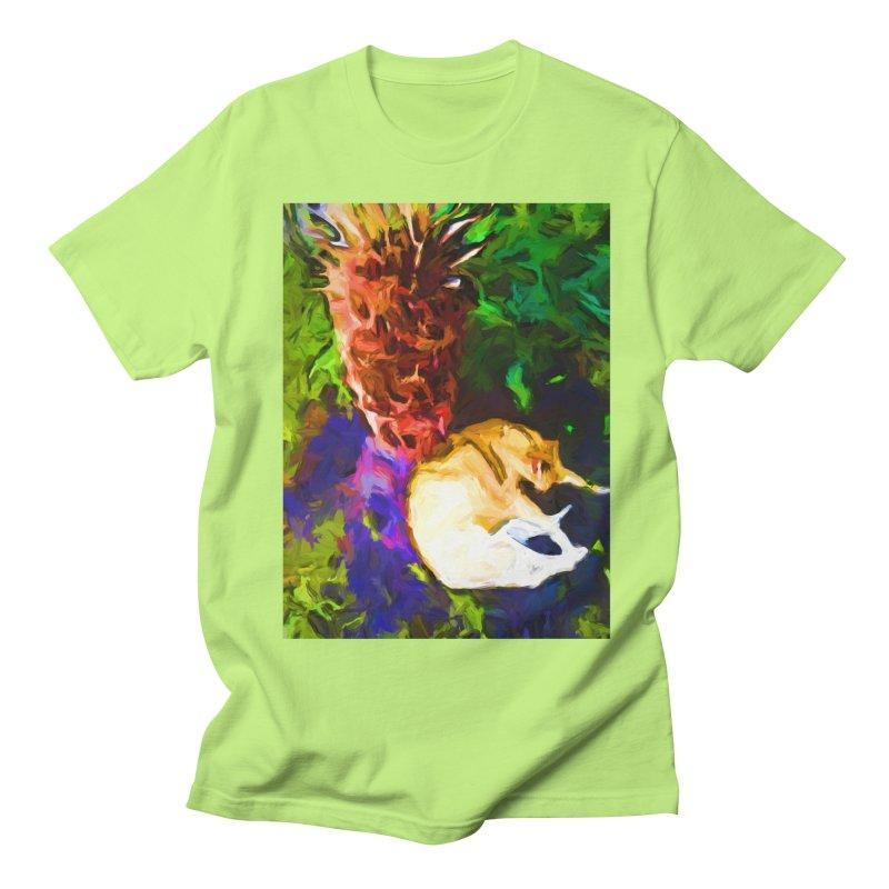 Sleeping Cat under Tree Fern Men's Regular T-Shirt by jackievano's Artist Shop