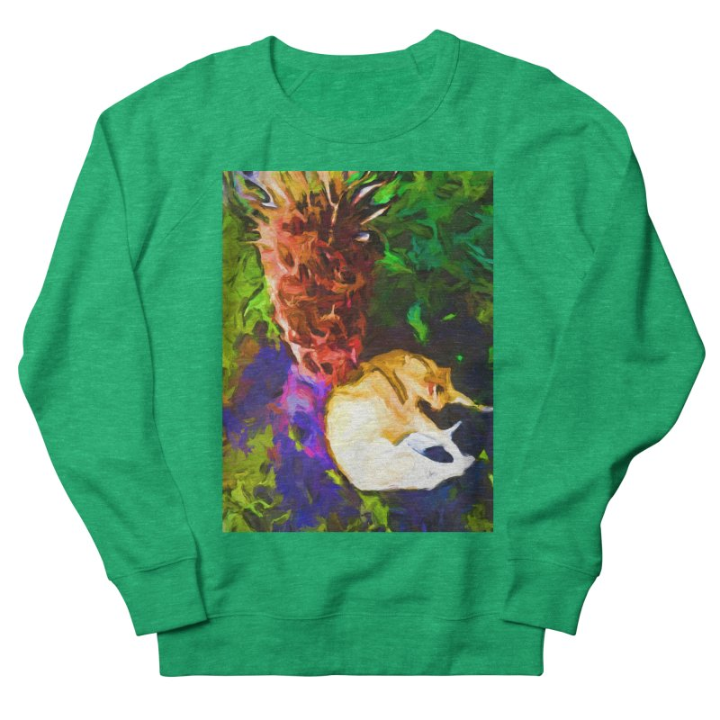 Sleeping Cat under Tree Fern Women's French Terry Sweatshirt by jackievano's Artist Shop