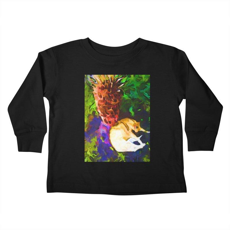 Sleeping Cat under Tree Fern Kids Toddler Longsleeve T-Shirt by jackievano's Artist Shop