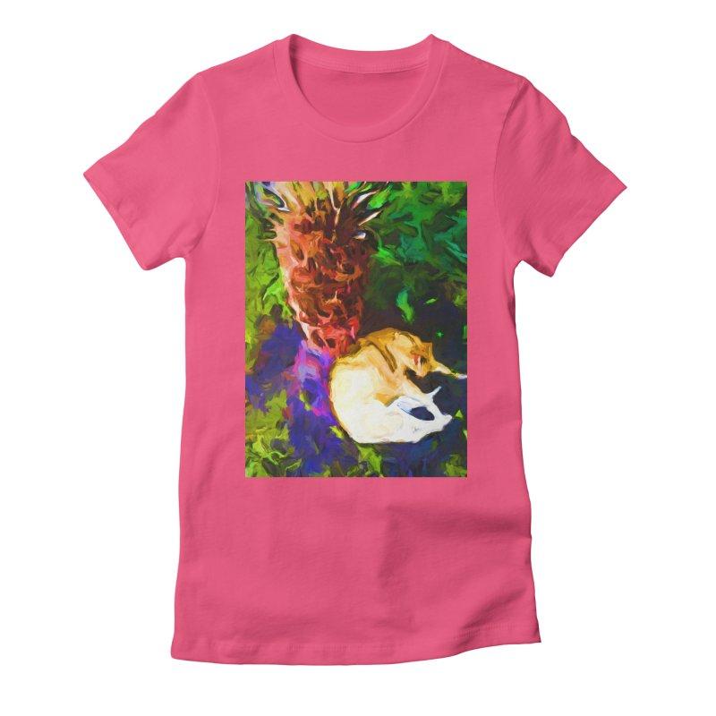 Sleeping Cat under Tree Fern Women's Fitted T-Shirt by jackievano's Artist Shop