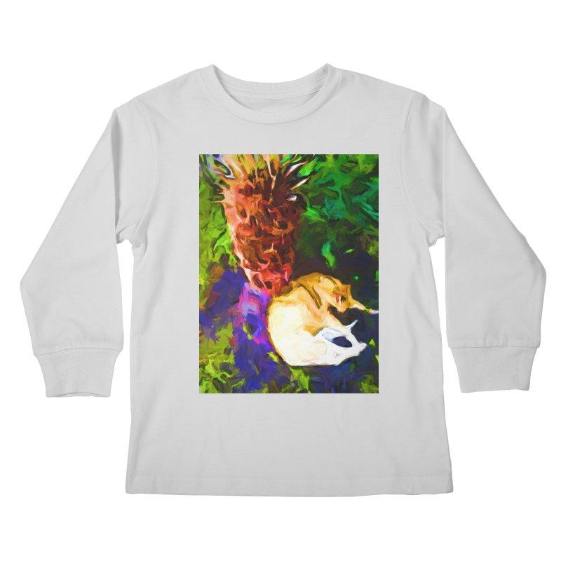 Sleeping Cat under Tree Fern Kids Longsleeve T-Shirt by jackievano's Artist Shop