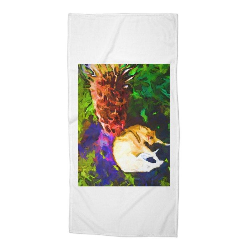 Sleeping Cat under Tree Fern Accessories Beach Towel by jackievano's Artist Shop