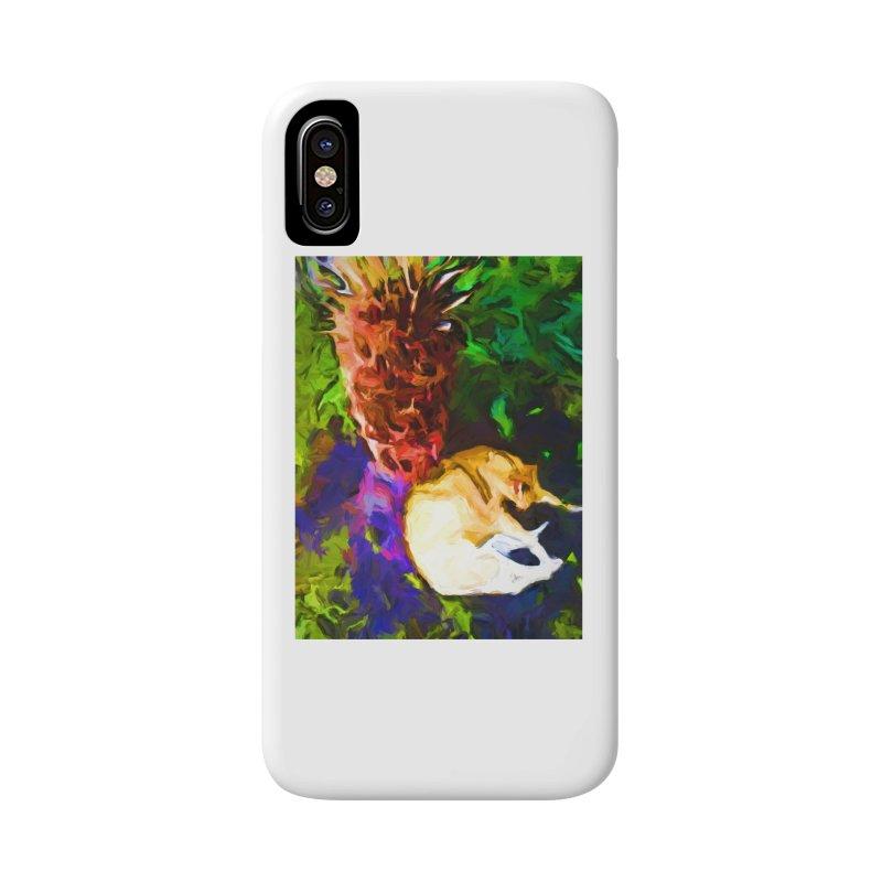 Sleeping Cat under Tree Fern Accessories Phone Case by jackievano's Artist Shop