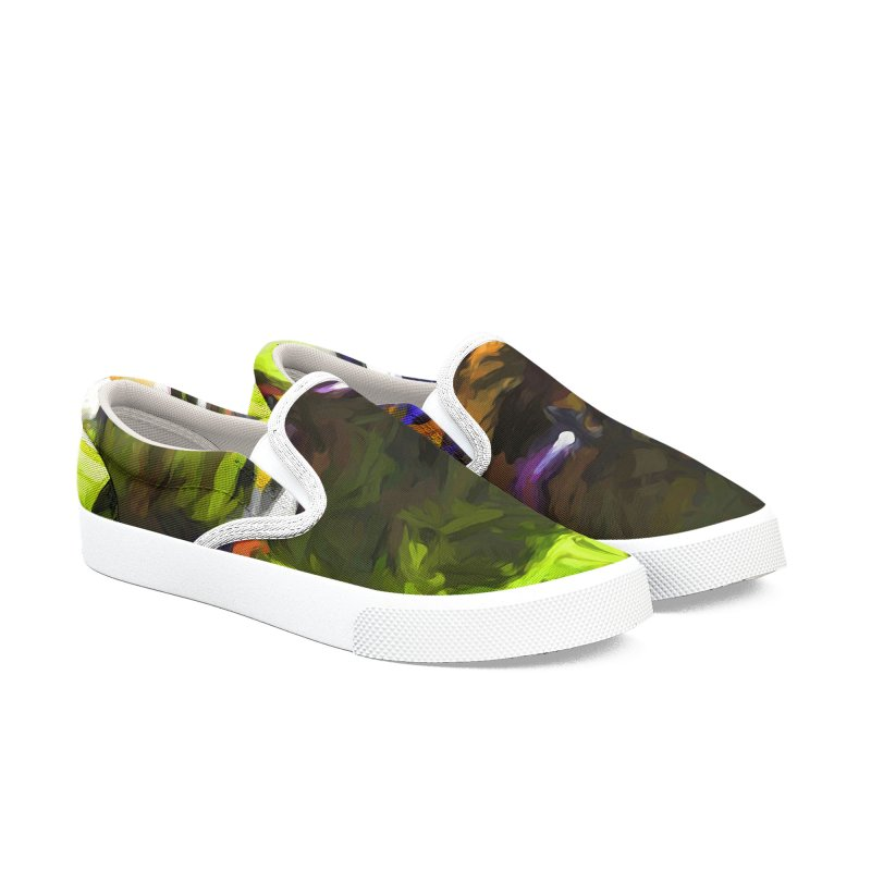 Pink Tree Trunks Men's Slip-On Shoes by jackievano's Artist Shop
