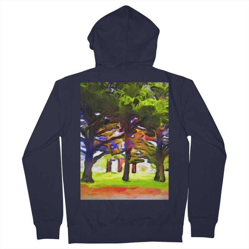 Pink Tree Trunks Men's French Terry Zip-Up Hoody by jackievano's Artist Shop