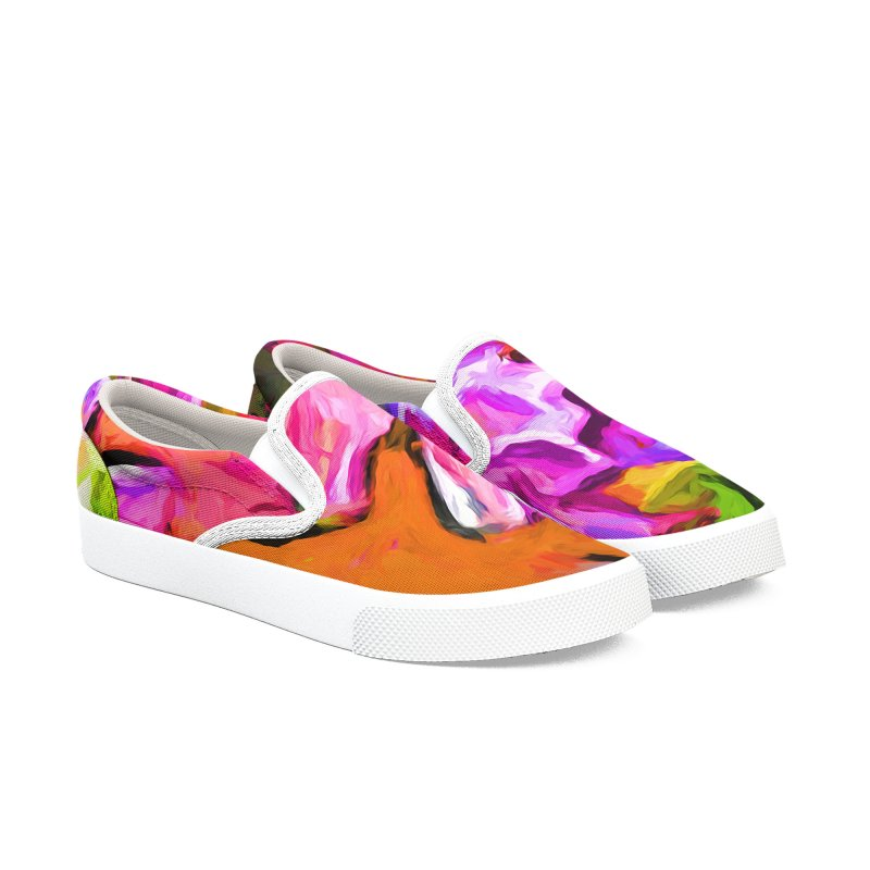 Diagonal of Daisies Men's Slip-On Shoes by jackievano's Artist Shop