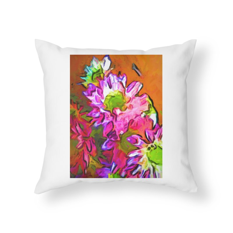 Diagonal of Daisies Home Throw Pillow by jackievano's Artist Shop