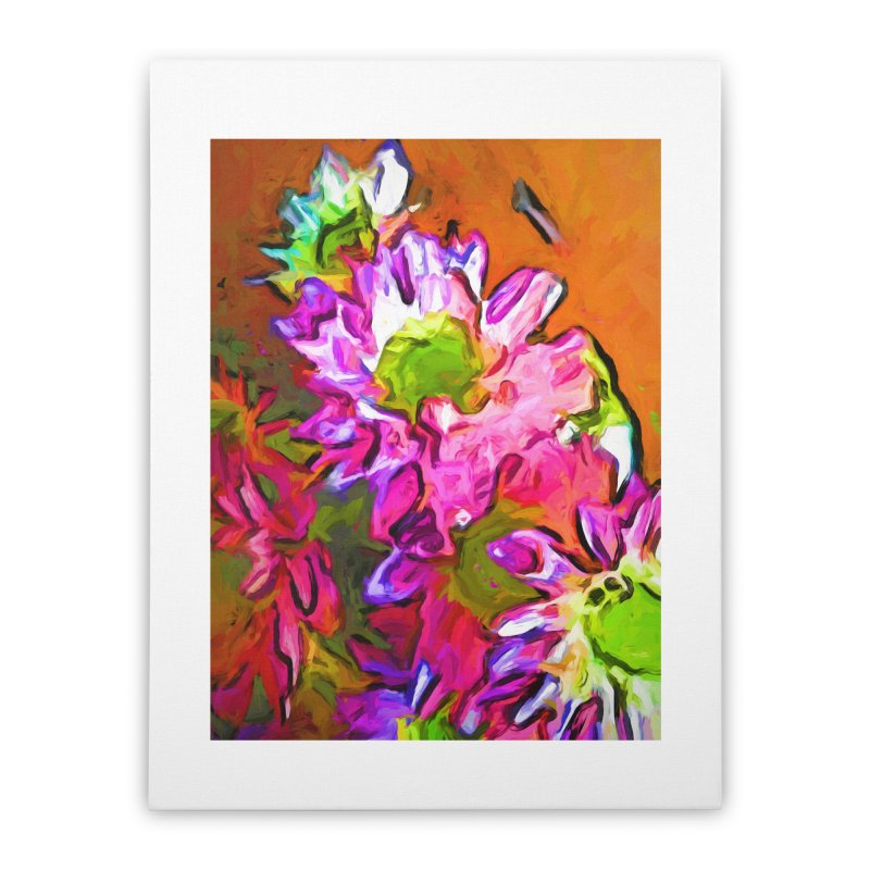 Diagonal of Daisies Home Stretched Canvas by jackievano's Artist Shop