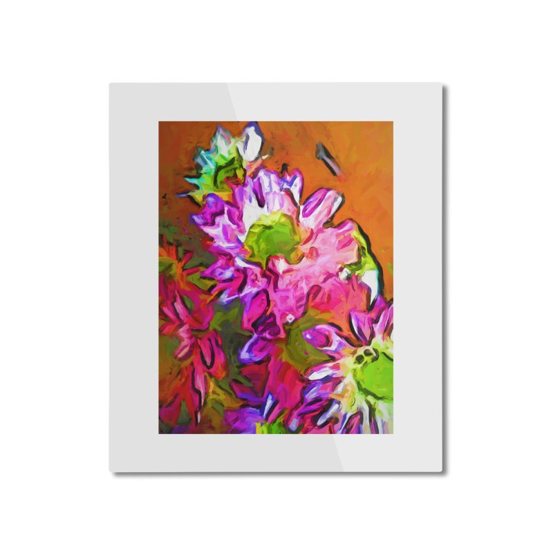 Diagonal of Daisies Home Mounted Aluminum Print by jackievano's Artist Shop