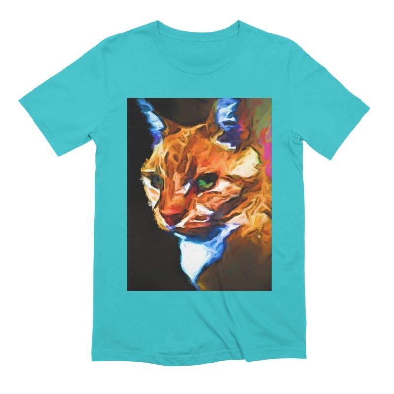 Portrait of Cat Looking Left Men's Extra Soft T-Shirt by jackievano's Artist Shop