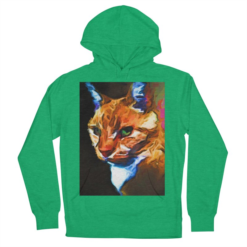 Portrait of Cat Looking Left Men's French Terry Pullover Hoody by jackievano's Artist Shop