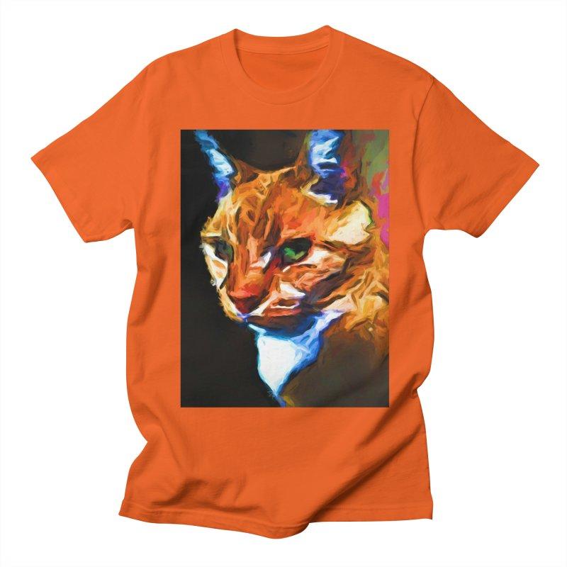 Portrait of Cat Looking Left Men's Regular T-Shirt by jackievano's Artist Shop