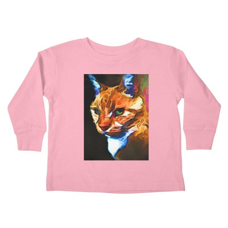 Portrait of Cat Looking Left Kids Toddler Longsleeve T-Shirt by jackievano's Artist Shop