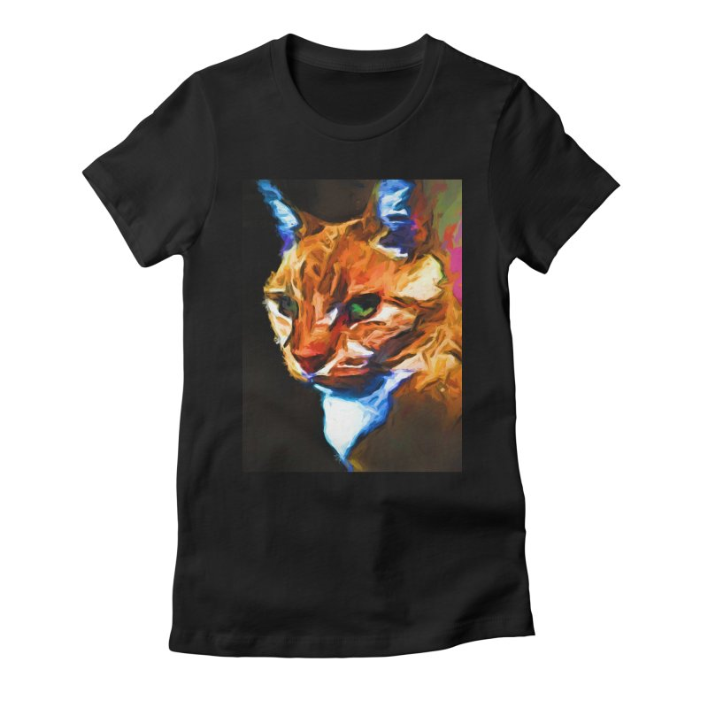 Portrait of Cat Looking Left Women's Fitted T-Shirt by jackievano's Artist Shop