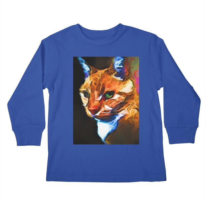 Portrait of Cat Looking Left Kids Longsleeve T-Shirt by jackievano's Artist Shop