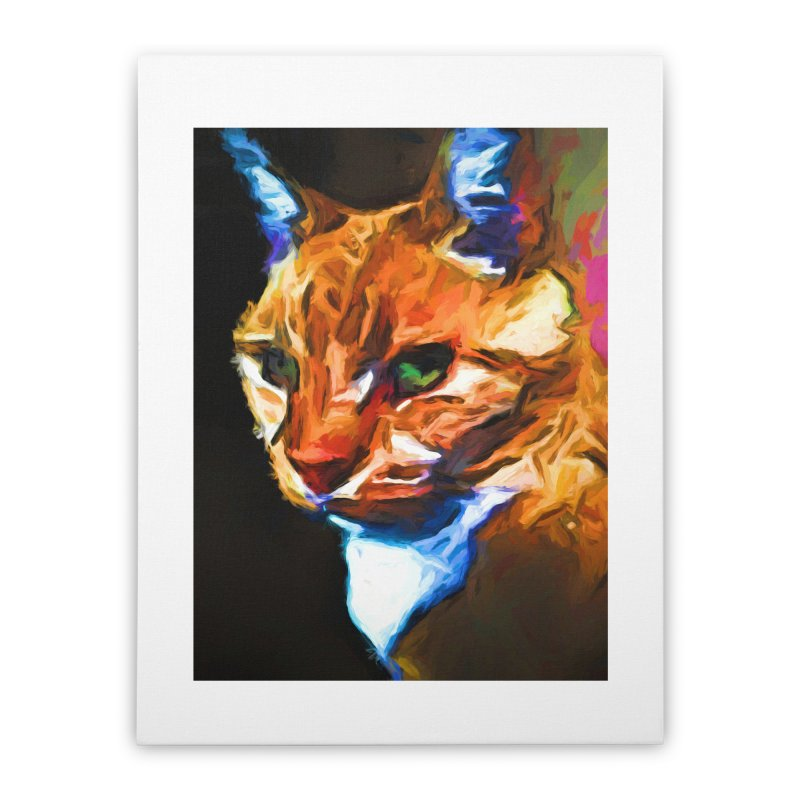 Portrait of Cat Looking Left Home Stretched Canvas by jackievano's Artist Shop