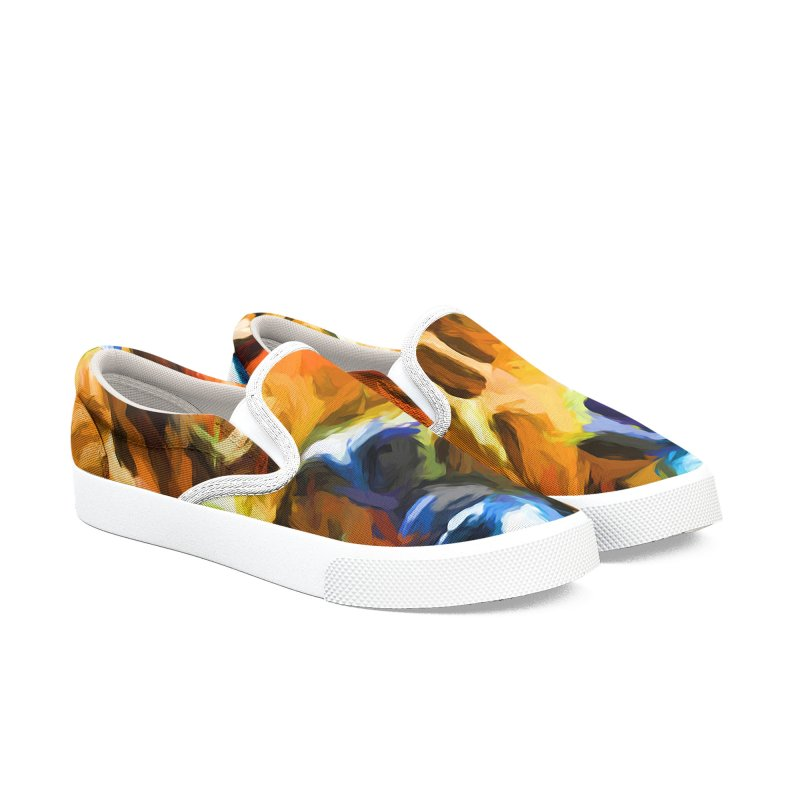 Portrait of Cat Looking Straight Ahead Men's Slip-On Shoes by jackievano's Artist Shop