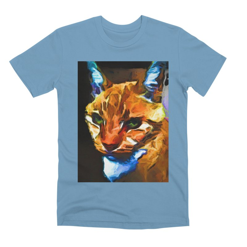 Portrait of Cat Looking Straight Ahead Men's Premium T-Shirt by jackievano's Artist Shop