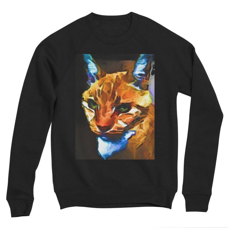 Portrait of Cat Looking Straight Ahead Men's Sponge Fleece Sweatshirt by jackievano's Artist Shop