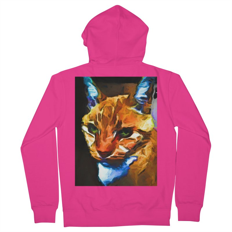 Portrait of Cat Looking Straight Ahead Men's French Terry Zip-Up Hoody by jackievano's Artist Shop