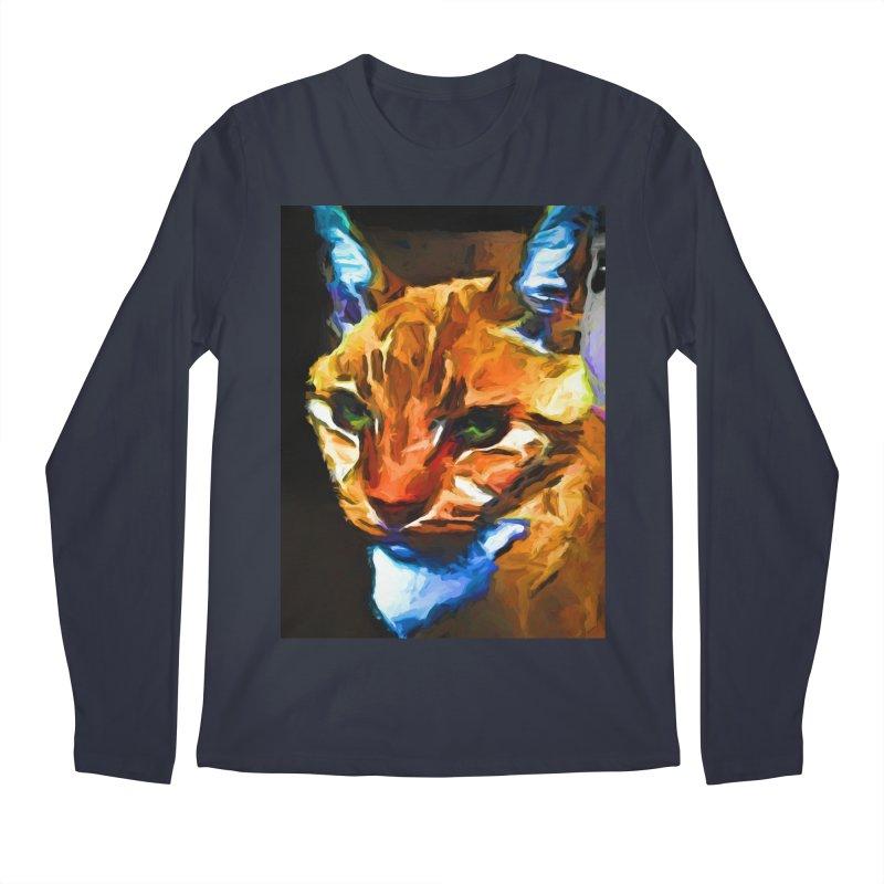 Portrait of Cat Looking Straight Ahead Men's Regular Longsleeve T-Shirt by jackievano's Artist Shop