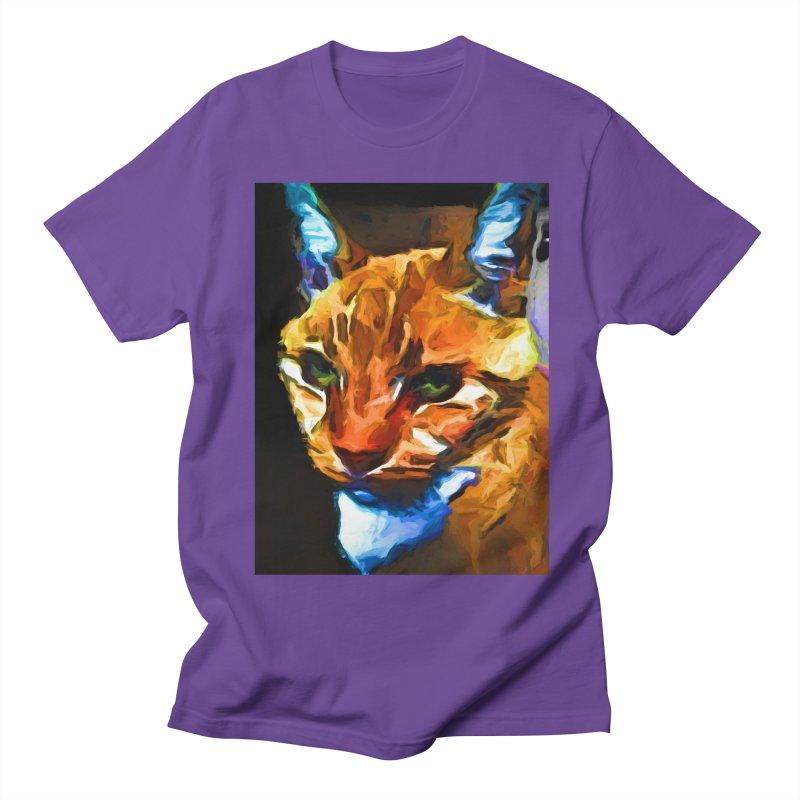 Portrait of Cat Looking Straight Ahead Men's Regular T-Shirt by jackievano's Artist Shop