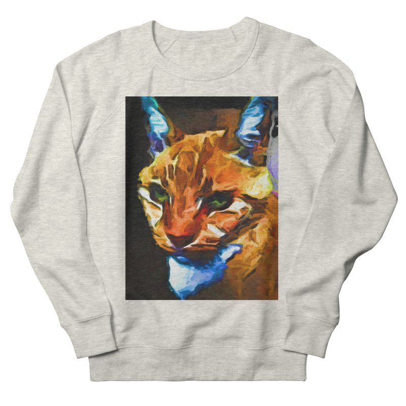 Portrait of Cat Looking Straight Ahead Men's French Terry Sweatshirt by jackievano's Artist Shop