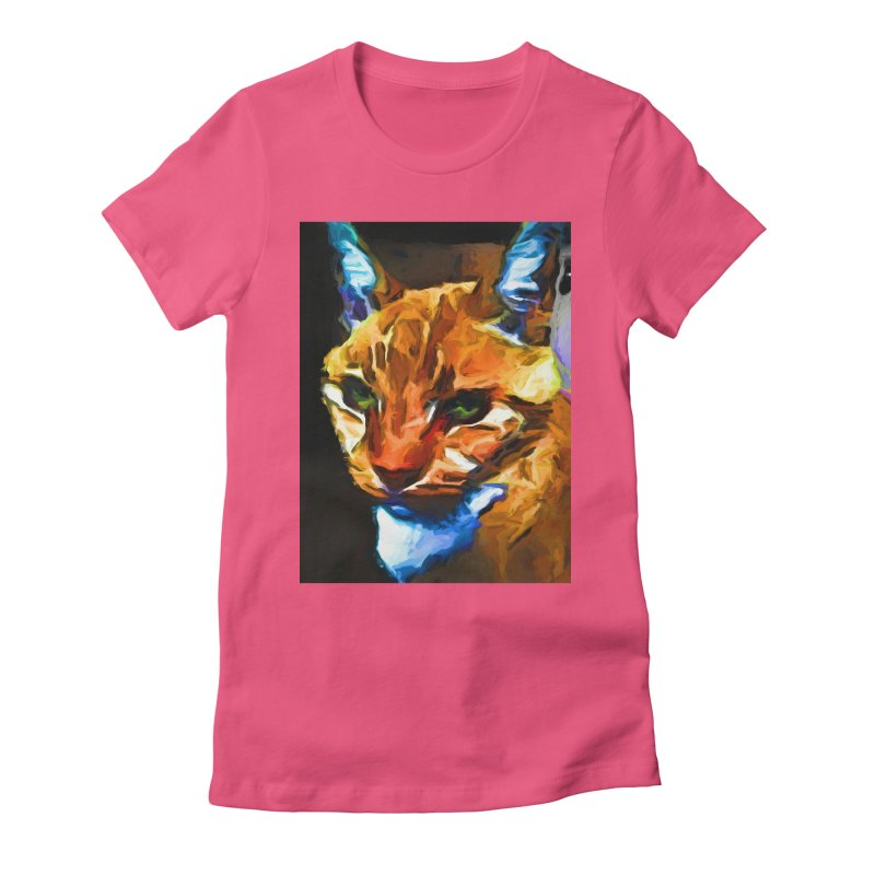 Portrait of Cat Looking Straight Ahead Women's Fitted T-Shirt by jackievano's Artist Shop