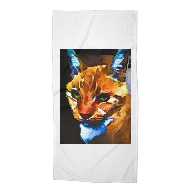 Portrait of Cat Looking Straight Ahead Accessories Beach Towel by jackievano's Artist Shop