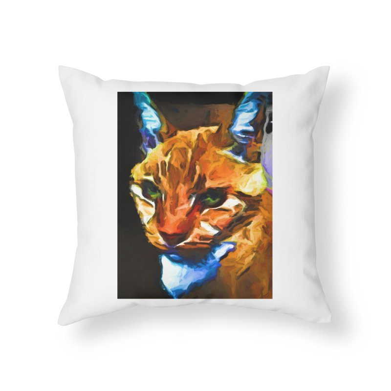 Portrait of Cat Looking Straight Ahead Home Throw Pillow by jackievano's Artist Shop