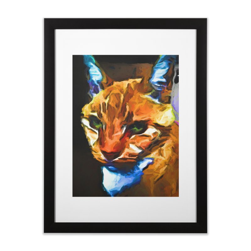 Portrait of Cat Looking Straight Ahead Home Framed Fine Art Print by jackievano's Artist Shop