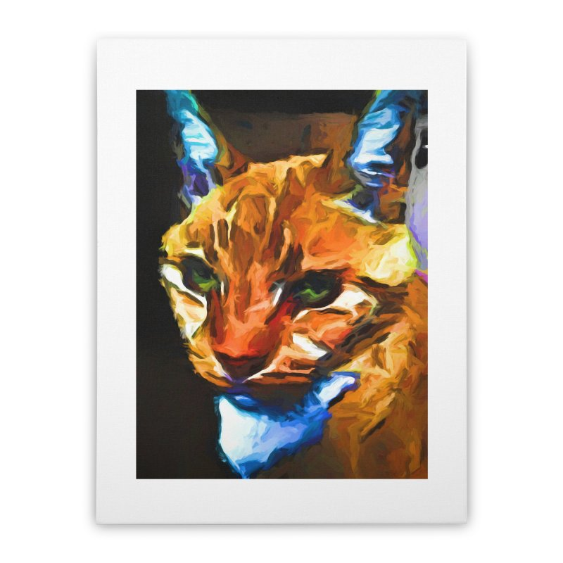 Portrait of Cat Looking Straight Ahead Home Stretched Canvas by jackievano's Artist Shop