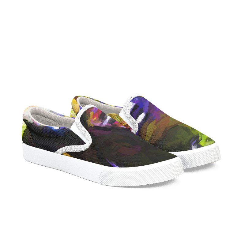 Trees in Row with Pink Branch Men's Slip-On Shoes by jackievano's Artist Shop