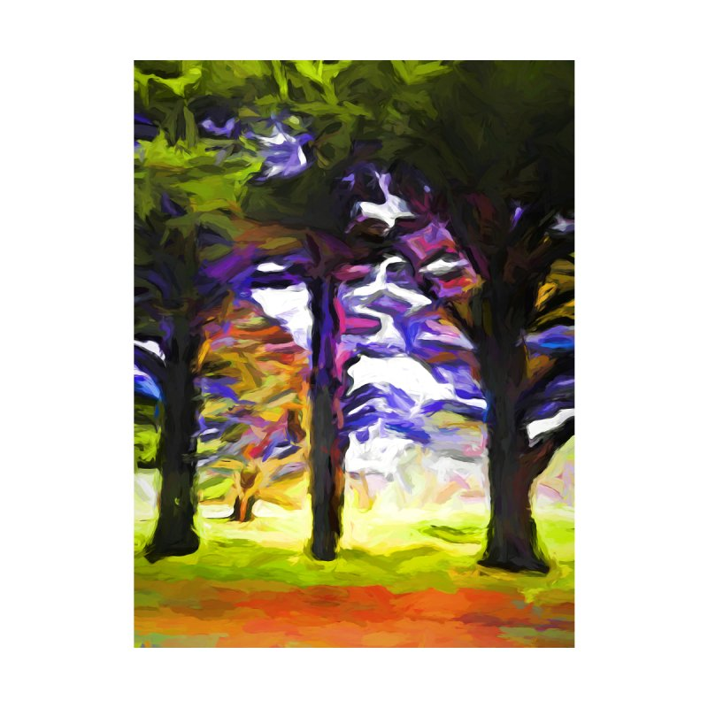 Trees in Row with Pink Branch by jackievano's Artist Shop