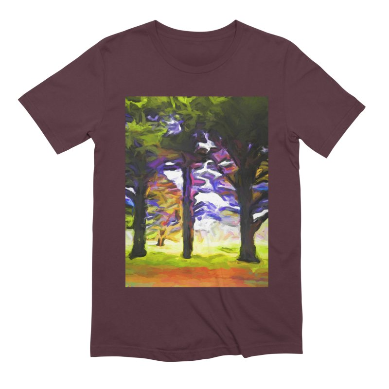 Trees in Row with Pink Branch Men's Extra Soft T-Shirt by jackievano's Artist Shop